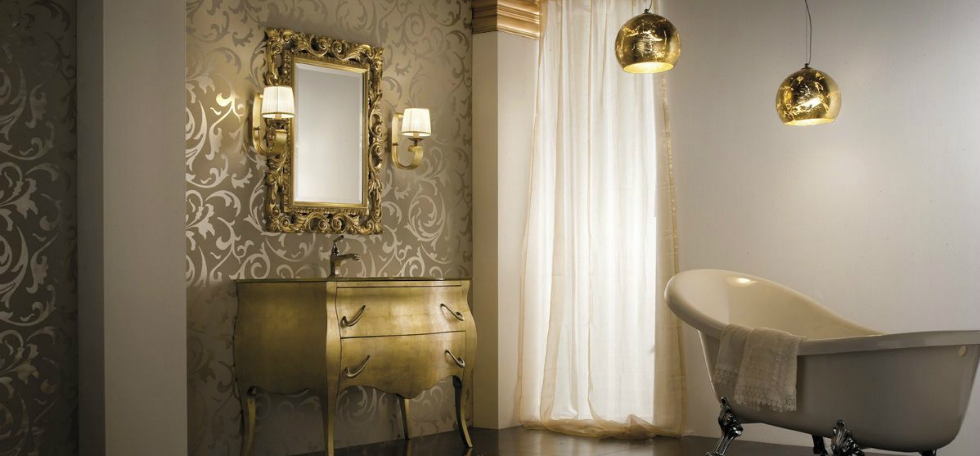 bathroom lighting design ideas with gold details