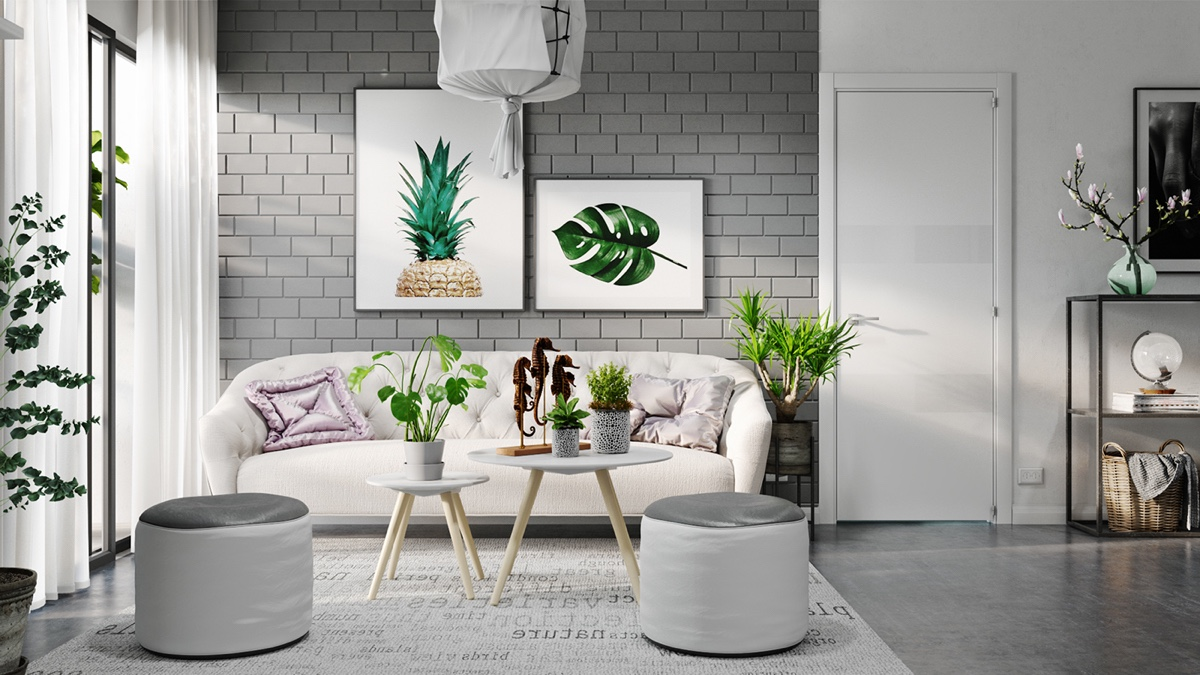 minimalist white interior design ideas interior design ideas How To Illuminate With White Interior Design Ideas tropical artwork grey exposed brick