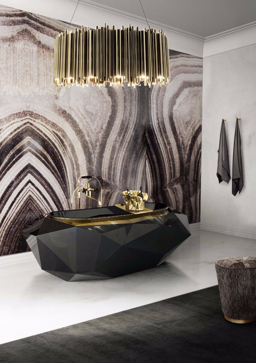 bathroom lighting bathroom lighting What's Hot On Pinterest: The Perfect Bathroom Lighting 9 diamond bathtub matheny suspension maison valentina HR