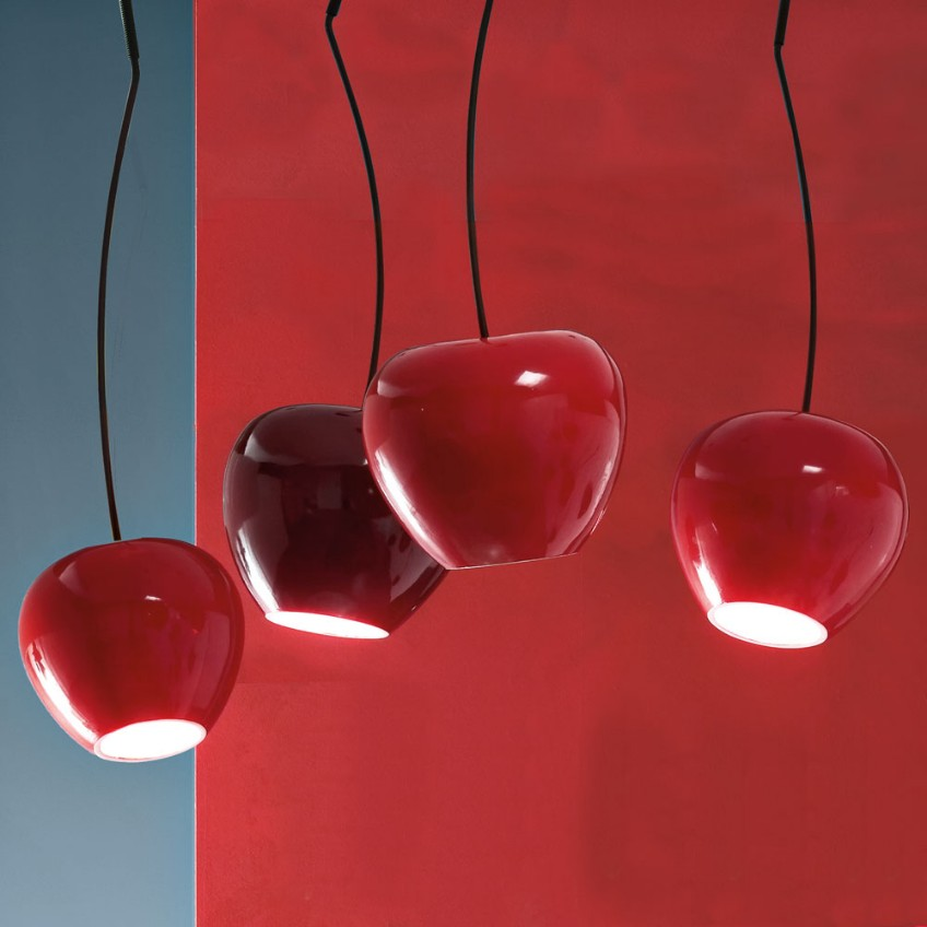 lighting design Mood Board: Red Trends in Lighting Design lampada a sospensione ciliegia cherry big adriani rossi 4