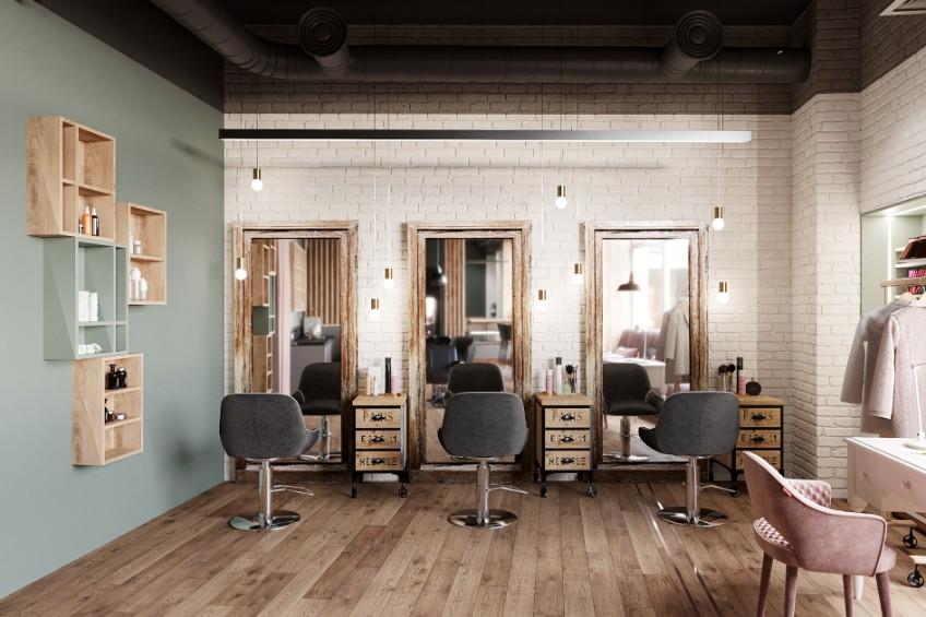 A Beauty Salon in St. Petersburg With Industrial Lighting Design (3) industrial lighting design A Beauty Salon in St. Petersburg With Industrial Lighting Design A Beauty Salon in St