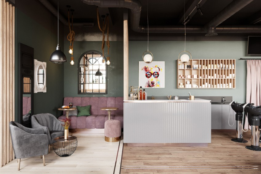 A Beauty Salon in St. Petersburg With Industrial Lighting Design  industrial lighting design A Beauty Salon in St. Petersburg With Industrial Lighting Design A Beauty Salon in St