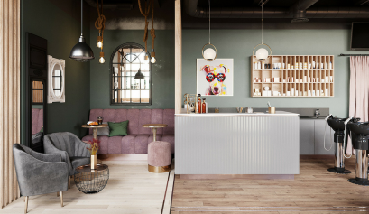 A Beauty Salon in St. Petersburg With Industrial Lighting Design